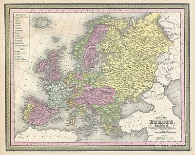 1850 Mitchell Map Of Europe Poster