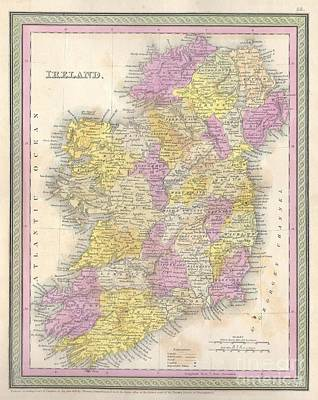 1850 Mitchell Map Of Ireland Poster