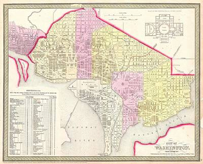 1850 Mitchell Map Of Washington Dc And Georgetown Poster by Paul Fearn