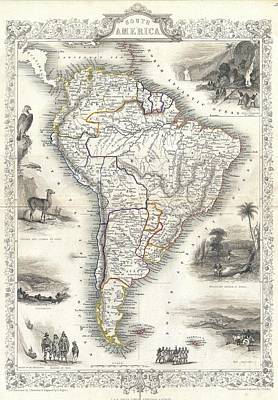 1850 Tallis Map Of South America Poster by Paul Fearn