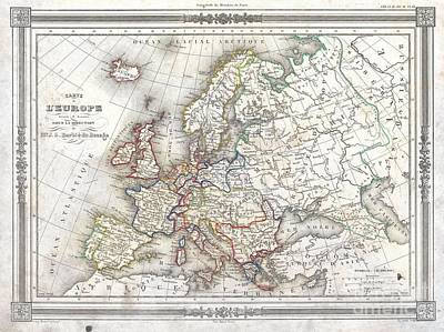 1852 Barbie Du Bocage Map Of Europe Poster by Paul Fearn