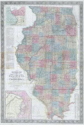 1852 Colton Sectional Pocket Map Of Illinois Poster