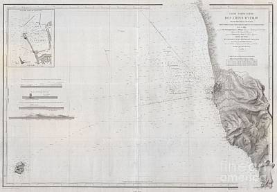 1852 Depot De La Marine Nautical Chart Or Map Of Livorno Tuscany Italy  Poster by Paul Fearn