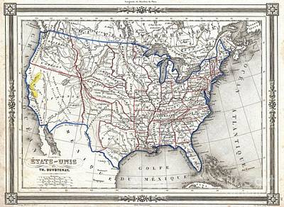 1852 Duvotenay Map Of The United States Poster by Paul Fearn