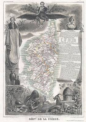 1852 Levasseur Map Of Corsica  Poster by Paul Fearn