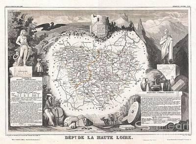 1852 Levasseur Map Of The Department De La Haute Loire France Loire Valley Region Poster by Paul Fearn