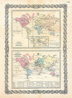 1855 Antique First Plate Ortelius World Map Animal Kingdom World Commerce And Navigation Poster by Karon Melillo DeVega