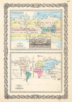 1855 Antique World Maps Illustrating Principal Features Of Meteorology Rain And Principal Plants Poster by Karon Melillo DeVega