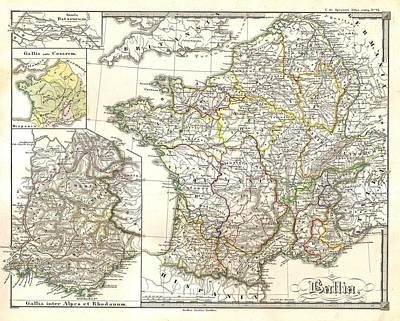 1855 Spruneri Map Of France  Gaul Gallia In Ancient Times Poster