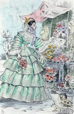 1855, Womens Fashion In Nineteenth-century Paris Poster by Artokoloro