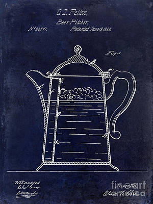 1860 Beer Pitcher Patent Drawing Blue Poster by Jon Neidert