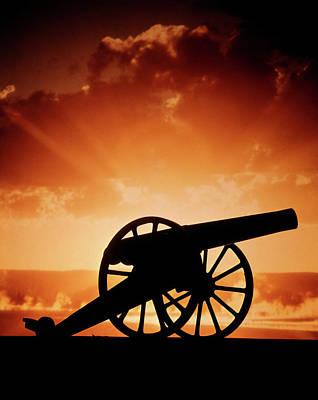 1860s Silhouette Civil War Era Cannon Poster