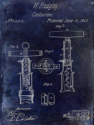 1862 Corkscrew Patent Drawing Poster