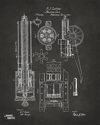 1862 Gatling Gun Patent Artwork - Gray Poster