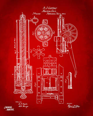 1862 Gatling Gun Patent Artwork - Red Poster