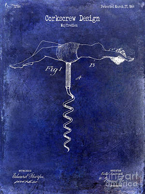 1864 Nude Corkscrew Patent Drawing Blue Poster by Jon Neidert