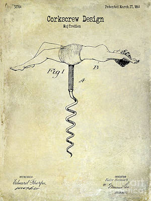 1864 Nude Corkscrew Patent Drawing  Poster by Jon Neidert