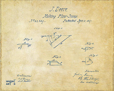 1867 John Deere Plow Irons Patent Vintage H Poster by Nikki Marie Smith
