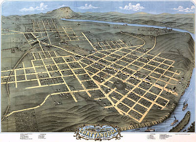 1871 Birds Eye Map Of Chattanooga Poster