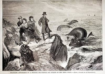 1871 Kilkee Irish Sea Monster Serpent Poster