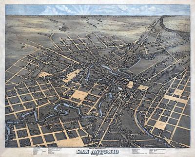 1873 Map Of San Antonio Poster by Stephen Stookey