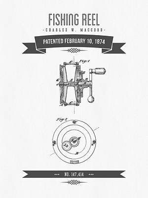 1874 Fishing Reel Patent Drawing Poster by Aged Pixel