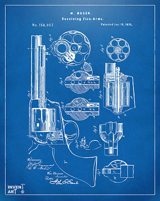 1875 Colt Peacemaker Revolver Patent Blueprint Poster by Nikki Marie Smith