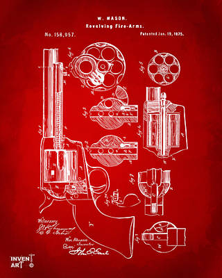 1875 Colt Peacemaker Revolver Patent Red Poster by Nikki Marie Smith