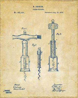 1876 Wine Corkscrews Patent Artwork - Vintage Poster
