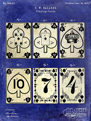 1877 Playing Cards Patent Drawing 2 Tone Blue Poster by Jon Neidert