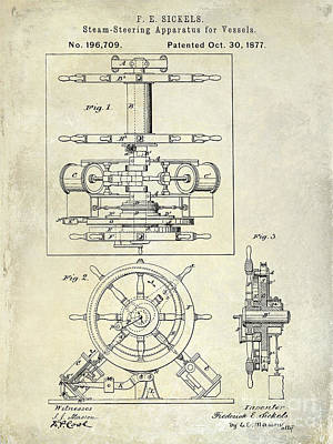 1877 Steering Apparatus For Vessels Patent Drawing Poster by Jon Neidert