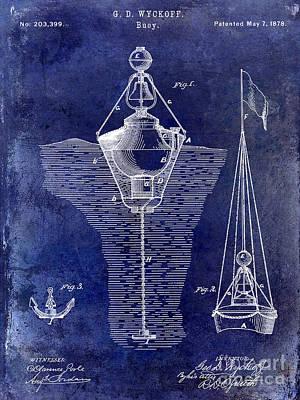 1878 Buoy Patent Drawing Blue Poster by Jon Neidert