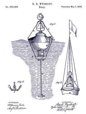 1878 Buoy Patent Drawing Blueprint  Poster by Jon Neidert