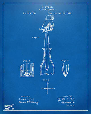 1878 Cork Extractor Patent Artwork - Blueprint Poster by Nikki Marie Smith