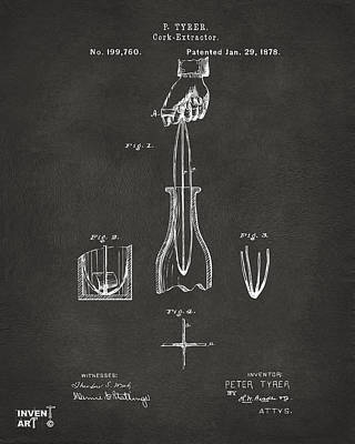 1878 Cork Extractor Patent Artwork - Gray Poster by Nikki Marie Smith
