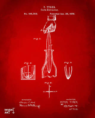 1878 Cork Extractor Patent Artwork - Red Poster by Nikki Marie Smith