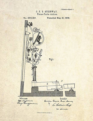 1878 Steinway Piano Forte Action Patent Art  Poster