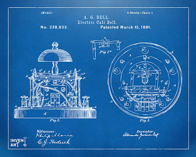 1881 Alexander Graham Bell Electric Call Bell Patent Blueprint Poster by Nikki Marie Smith