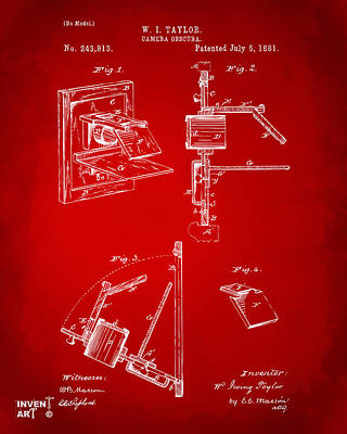 1881 Taylor Camera Obscura Patent Red Poster by Nikki Marie Smith