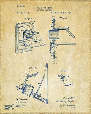 1881 Taylor Camera Obscura Patent Vintage Poster by Nikki Marie Smith