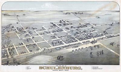 1881 Vintage Map Of Schulenburg Texas Poster