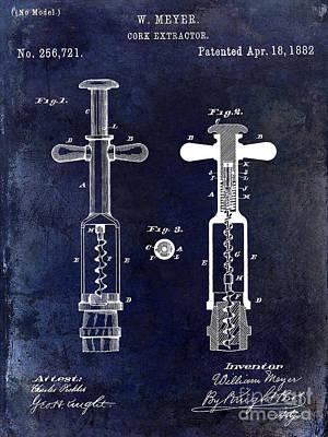1882 Corkscrew Patent Drawing Poster by Jon Neidert