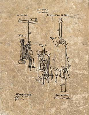 1882 Fire Escape Patent Poster