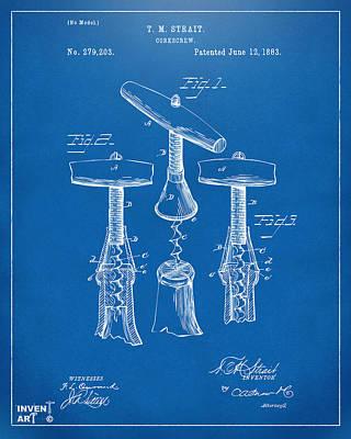 1883 Wine Corckscrew Patent Artwork - Blueprint Poster by Nikki Marie Smith