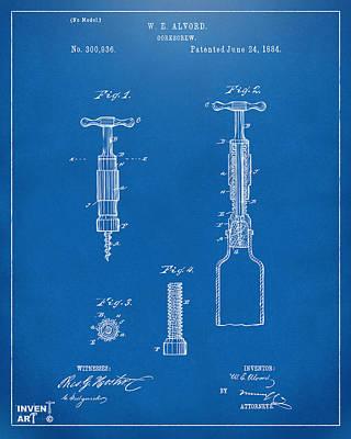 1884 Corkscrew Patent Artwork - Blueprint Poster by Nikki Marie Smith