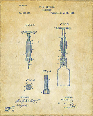 1884 Corkscrew Patent Artwork - Vintage Poster by Nikki Marie Smith