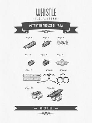 1884 Whistle Patent Drawing Poster by Aged Pixel