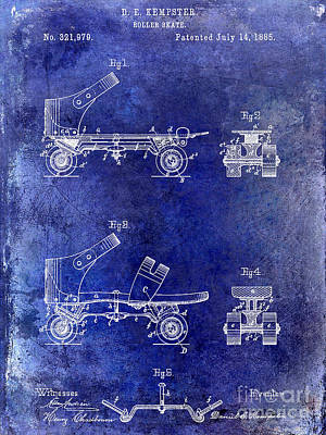 1885 Roller Skate Patent Drawing Blue Poster
