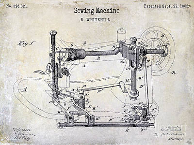1885 Sewing Machine Patent Drawing Poster