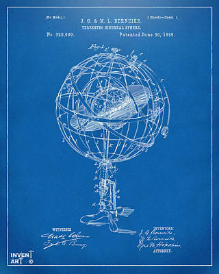 1885 Terrestro Sidereal Sphere Patent Artwork - Blueprint Poster by Nikki Marie Smith